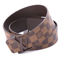 LOUIS VUITTON $490 Retail Price Initials Damier Ebene Canvas Leather Belt 30/32