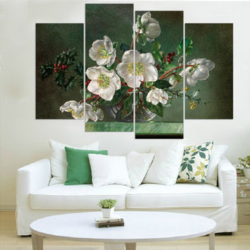 Canvas Painting Flower Print Cuadros Decoracion Modular Painting for Living Room Wall Pictures Unframed (5 Color Availble) 4pcs