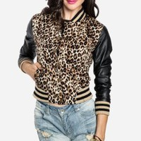 DAILYLOOK Women's, Leopard Varsity Jacket, tan, S