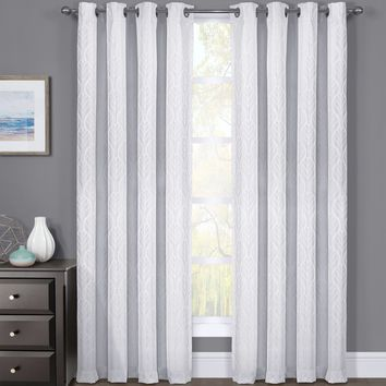 White Set of 2 Hilton Blackout Curtain Panels Jacquard Thermal Insulated Pairs