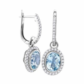 14kt White Gold Women's Round Natural Aquamarine Diamond Oval Dangle Earrings 2-3-8 Cttw - FREE Shipping (US/CAN)