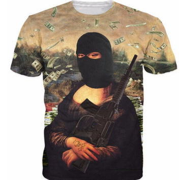 T Shirt 3D Mona Lisa With Gun