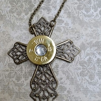 Bullet necklace, bullet jewelry, bullet cross, ammo necklace, shotgun necklace