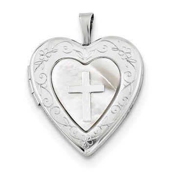 Sterling Silver Rhodium-plated 20mm Mother Of Pearl Cross Heart Locket