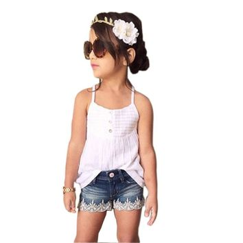 Girls Top and Jean Shorts 2 Piece Set