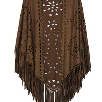 Coffee Laser Cut Fringed Cape