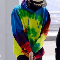 Fashion Casual Long Sleeve Hooded Tie-dye Gradient Rainbow Color Sweater