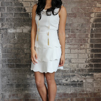 White Scallop Ruffle Cocktail Dress