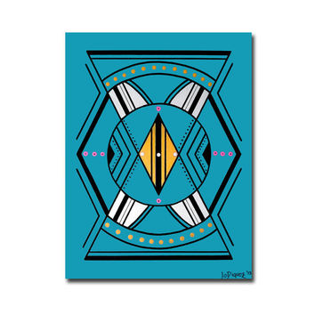 Original abstract painting on a canvas panel. Geometric with turquoise, blue, yellow, white, and pink.