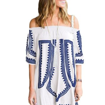 Chicloth White Bohemian Vibe Geometric Print Off The Shoulder Beach Dress