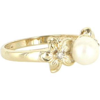 Vintage Cultured Pearl Diamond Flower Ring 10 Karat Yellow Gold Estate Right Hand 7