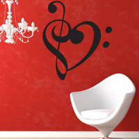 Vinyl Wall Decal Sticker Music Note Heart #1368