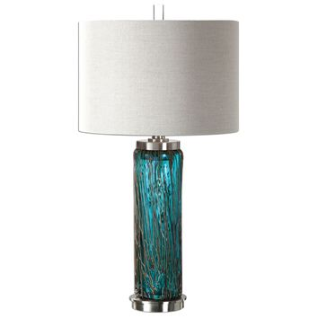 Almanzora Contemporary Teal Glass Table Lamp by Uttermost