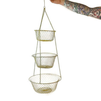 Vintage Tiered Wire Metal Basket Hanging Basket Hanging Fruit Basket Kitchen Basket
