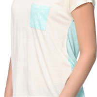 Empyre Teagan Cream & Anchor Print Dolman Tee Shirt