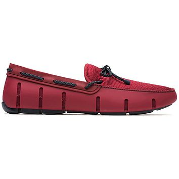 Men's Water Resistant Braided Lace Loafer in Deep Red & Navy by SWIMS