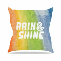 "KESS Original ""Rain & Shine"" Rainbow Abstract Outdoor Throw Pillow"