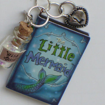 Little Mermaid, Key Ring, Chain Heart, Charm, Wish Dust Charm, Book Charm, Key Chain, Personalized Gift, Birthstone Charm