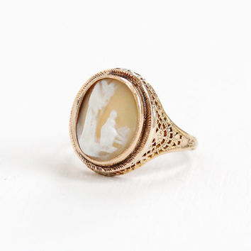 Antique 10k Rose Gold Filigree Scenic Cameo Ring - Vintage 1920s 1930s Art Deco Large Intricate Carved Shell Fairy Tale Landscape Jewelry
