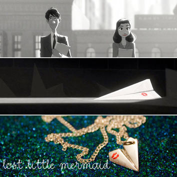Paperman Inspired Paper Airplane Necklace