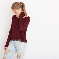 Slouchy Sweater with Crochet