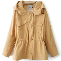 Long Sleeve Collar Hood Drawstring Trench Coat