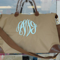 Large Weekender Tote Bag Monogram Font Shown by MONOGRAMSINC