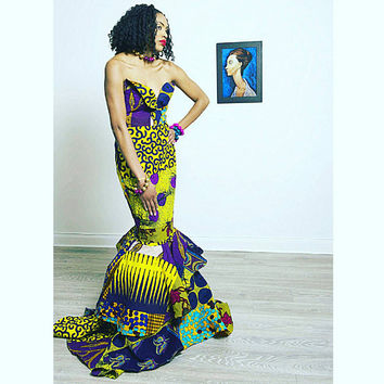 African Print Dress Ankara Dress wedding Dress African Clothing Strapless Dress African Dress African Fashion Women Clothing African Fabric