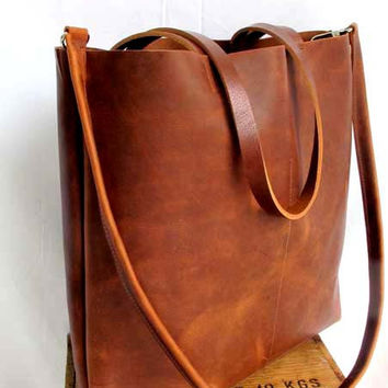 36f718860d Brown Leather Tote Bag - Distressed Brown Leather Travel Bag - L