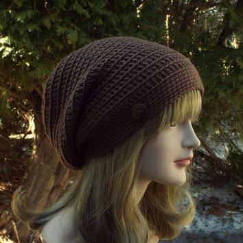 Cocoa Brown Slouch Beanie, Womens Slouchy Crochet Hat, Oversized Slouchy Beanie, Hipster Hat, Baggy Beanie, Slouchy Hat with Button