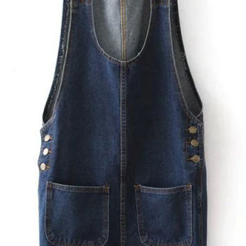 Navy Strappy Buttons Pockets Denim Shift Mini Dress