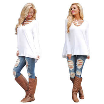White Cut-out  V-Neck Loose Top