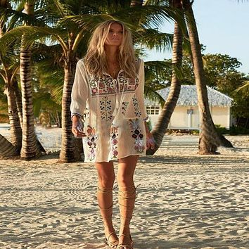 Boho Inspired embroidered women dress Long sleeve Yackalasi O-neck Spring  sexy mini hippie chic dress style brand clothing