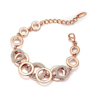 Rose Gold & Silver Color Circles Bracelet & Bangles for Woman