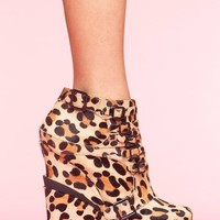 Mercer Wedge Boot - Leopard Pony in  What's New at Nasty Gal