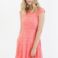 Rowan Fit and Flare Dress in Light Coral