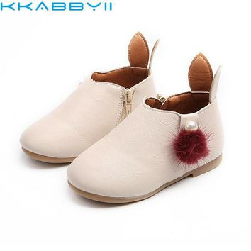 KKABBYII Baby Girl Boots Childrens Kids PU Leather Boots Single Princess Spring Autumn