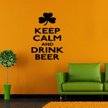 Wall Decor Vinyl Sticker Room Decal Decor Keep Calm And Drink Beer, Tea, Vodka, Coffee, Bar Shop Signs Quotes