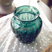 Turquoise Embossment Handwork Glass Flowers Vase
