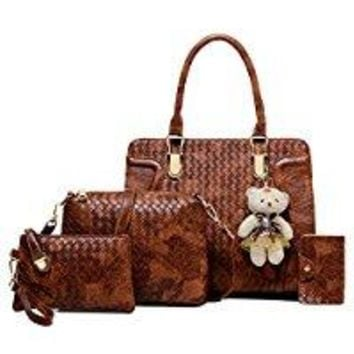 Yan Show Women's Woven Shoulder Bags Totes Handbags With Matching Wallet Purse 4 Pieces Set