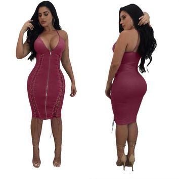 pink fashion sexy Camisole bilateral Chicken eye Bandage Repair the body zipper Leatherwear Dress 4 colors