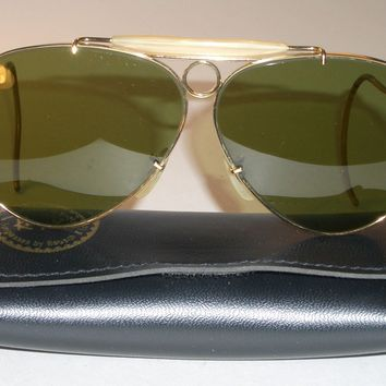1970's VINTAGE B&L RAY BAN RB3 TRU-GREEN UV ARISTA SHOOTING AVIATOR SUNGLASSES