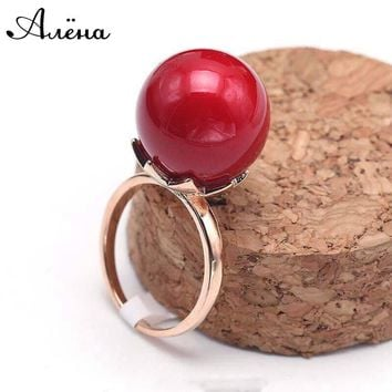 KCALOE Artificial Red Coral Stone Ring For Women Big Round Ball Rose Gold Color Fashion Wedding Jewelry Red Rings Anillos