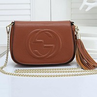 GUCCI Women Shopping Leather Handbag Tote Satchel Shoulder Bag F-LLBPFSH  Brown