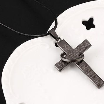 Fashionable Black Stainless Steel Cross with Scriptures and a Ring on a Rope Chain Necklace