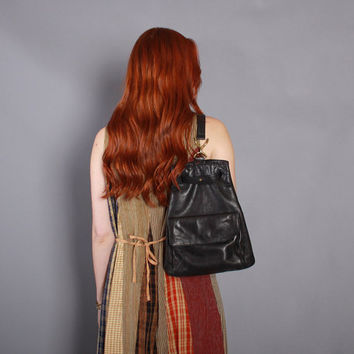 90s DKNY Soft LEATHER BACKPACK / 1990s Classic Black Donna Karan Daypack Sling Purse