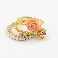 3 pcs/set 2016 fashion Vintage Shell flower ring for women Jewelry
