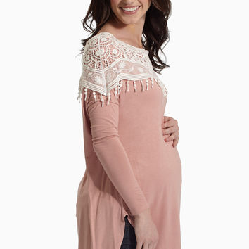 Dusty Pink Crochet Lace Overlay Maternity Top