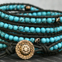 skull wrap bracelet- turquoise and gunmetal skulls on black leather