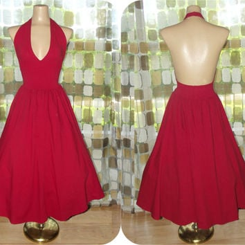 Vintage 80s Halter Dress | Retro 50s Full Sweep Dress | Crimson Red Sundress | Deep Plunge Rockabilly Swing  VLV